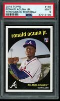 2018 Topps Throwback Thursday #160 Ronald Acuna Jr. RC SP PSA 9 Mint Rookie