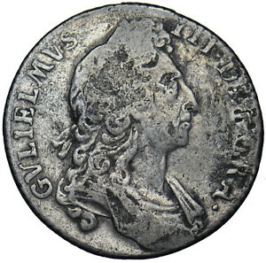 1696 SHILLING (NO STOPS ON REVERSE) - WILLIAM III BRITISH SILVER COIN