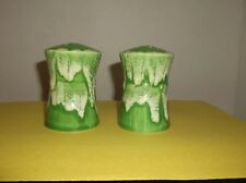 "DRIP GLAZE SALT & PEPPER SHAKER SET~HOUR GLASS SHAPE ~3""  GREEN & WHITE CERAMIC"