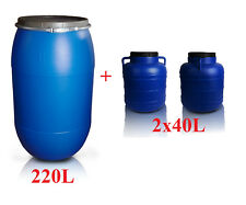 Set of Plastic barrels 220L & 2x40L Clamp Ring Water Storage Container Drum Keg