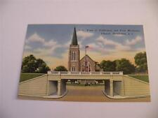 VINTAGE POSTCARD VIEW OF UNDERPASS AND  FIRST METHODIST CHURCH HENDERSON NC
