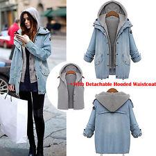 Women Winter Overcoat Hooded Jeans Coat Jacket Denim Trench Hoodie Parka Vest
