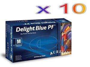 10x 100 (1000 Gloves / 10 Boxes) (Aurelia Delight Blue Powder Free Vinyl Gloves
