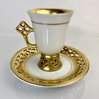 Hungary Hollohaza Reticulated/Pierced Footed Demitasse Cup & Saucer Gold