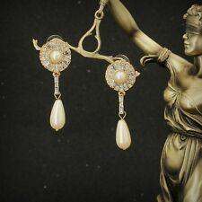 Ohrringe Mode Gestüt Golden Weiß Perle Kristall Runde Fallen Anhänger Lang B5