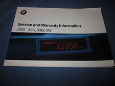 2002 BMW 3 SERIES M3 325i 330i SERVICE OWNERS MANUAL SUPPLEMENT MAINTENACE BOOK