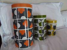 Set of 3 storage cannisters by Orla Kiely - 1970s retro animal designs - BNIB