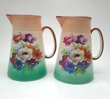 New ListingVintage Pair Of Matching Czechoslovakia Pottery Creamers, Pitchers Floral