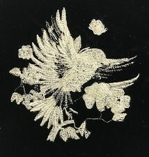 EMBROIDERED Champagne on BLACK Silk Velvet Fabric - Feathery Bird