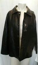 NEW EA Collection Italy Mens Large Black Long Sleeve Faux Leather Jacket L NWT