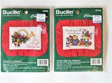 ✔️ 2 Cross Stitch Kits Christmas Horn Toys Picture Pillow SEALED Bucilla Lot