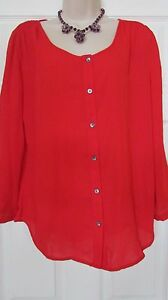 Womens sz 10 red sheer hi lo button down LANDS END long sleeve blouse