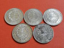 Lot 5 pièces argent 50 Francs Hercule année 1974 / 75 / 76 / 77 / 78 Lot n° 23