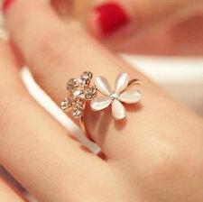 Fashion Women Opal Daisy Flower Crystal Rhinestone Adjustable Open Ring Jewelry
