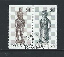 1983 FAROE ISLANDS Chessmen Booklet Stamp Pair (Scott 94b) Used