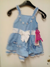 BEETLEJUICE * PALE BLUE CHILD'S DRESS * DARK BLUE EMBROIDERY * SIZE 2 T * NEW