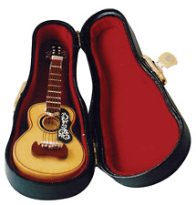 Dolls House Instrument 1:12th Scale Wooden Acoustic Sp Guitar & Black Case 152 *