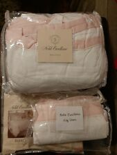 Noble Excellence BIJOUX Pink White King DUVET KING & EURO QUEEN SHAM NEW!