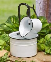 Pump 2 Midwest CBK E9 Garden Black /& White Enamel Water Pitcher Fountain W