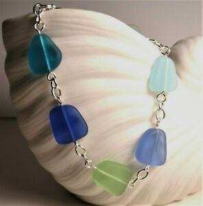 """BLUES and GREENS Sea glass jewelry handmade 8"""" bracelet lobster claw closure"""
