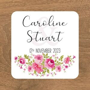 Personalised Stickers Wedding Favour Labels 15 SQUARE STICKERS 51MM (ES-003)