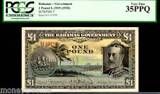 BAHAMAS P7 1919(1930) 1 POUND KING GEORGE Vth PCGS 35PPQ! ONLY 8 KN! 2nd FINEST!