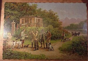 Antique large hand cut wood jigsaw puzzle German shooting party - 550 complete