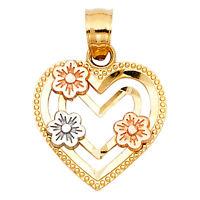Real 14K Yellow White Rose Gold Love Heart Flower Milgrain Small Charm Pendant