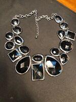 "Vtg Bib Statement Necklace Black Cabochon Grey Silver Extra Large Bib Lucite 18"""
