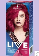 Schwarzkopf Live Semi Permanent Hair Dye RASPBERRY REBEL12-15 washes PINK RED
