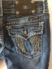 """Miss Me 27""""x30"""" Skinny Jeans  Angel Wings Medium Wash Sequined Stitch JP60035"""