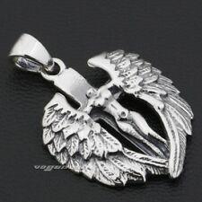925 Sterling Silver Naked Angel Cross Wings Mens Biker Charm Pendant Gift 9F022D