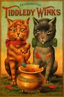 Two Cats Playing Tiddlywinks Game Discs in the Pot Vintage Poster Repro FREE S/H