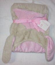 Hoodie BABY BLANKET Reversible Bunny Pink/Light Brown Mink Touch
