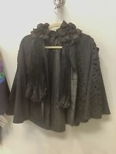 Antique Victorian 1880s Silk Braided Cord Jet Beaded Mourning Cape Or Mantle