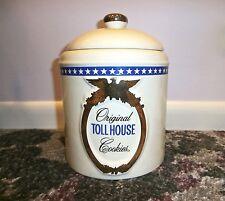 Vintage NESTLE Original Toll House COOKIE JAR Ceramic Recipe on Back Gold Eagle