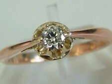 VINTAGE 9CT ROSE/YELLOW GOLD UNISEX SOLITAIRE DIAMOND RING - 0.25 CARATS