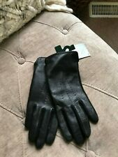 Ralph Lauren women's Black Leather & Wool The Touch winter Gloves size M
