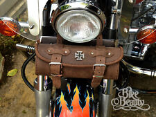 CROIX DE MALTE marron cuir pochette sacoche outils harley yamaha kawasaki honda