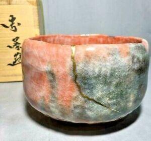 KIntsugi CHAWAN Bowl Raku ware Japanese Porcelain Tea Ceremony Antique Old Japan