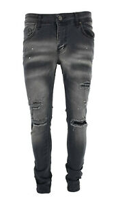 Mens Grey Peviani Slim Fit Ripped Repair Jeans Stretch Distressed Denim Pants UK