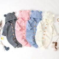 Toddler Baby Boy Girls Winter Romper Jacket Hooded Jumpsuit Outwear Sweater fz