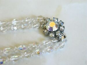 Vintage Art Deco Faceted Crystal Double Strand Choker Necklace