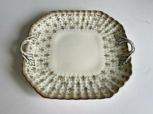 FLEUR DE LYS Gold SPODE Bone China SQUARE CAKE PLATE TRAY Gold Trim MINT