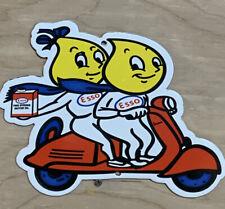 New ListingEsso Vespa Scooter Boy Girl Gas Motor Oil Advertising Porcelain Sign