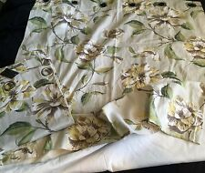 "NEW CHROME EYELET TOP LINED YELLOW FLORAL DRAPES  46""W X 70""L"