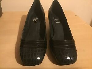 Ladies Square Toe Snakeskin Low Heel Shoes In Black Size 6/39 New Boxed
