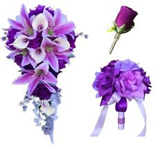4pc set:2 Bouquet 2 boutonnieres (Buttonholes)Cascade Tear Drop silk flowers