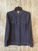 Women's Anne Klein small Navy Blue polkadot long sleeve blouse