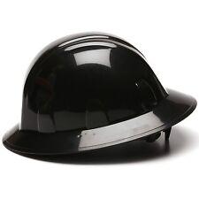 Pyramex Full Brim Hard Hat with 4 Point Ratchet Suspension, Black